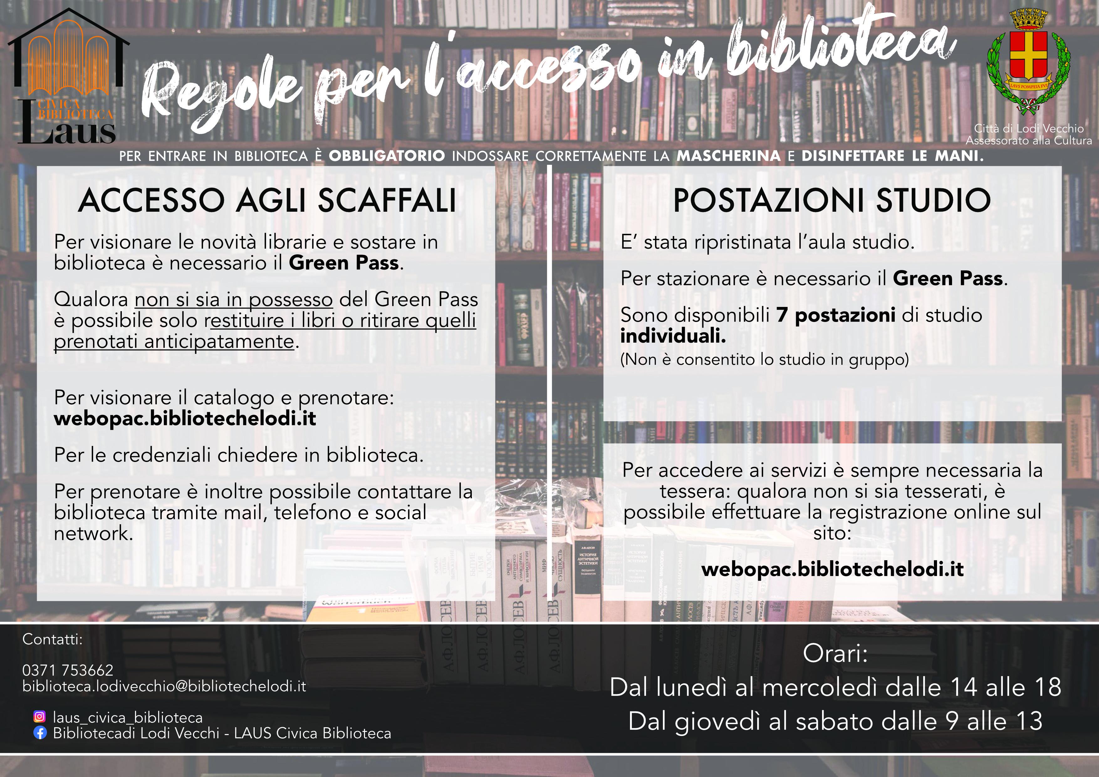 regole per accesso alla biblioteca