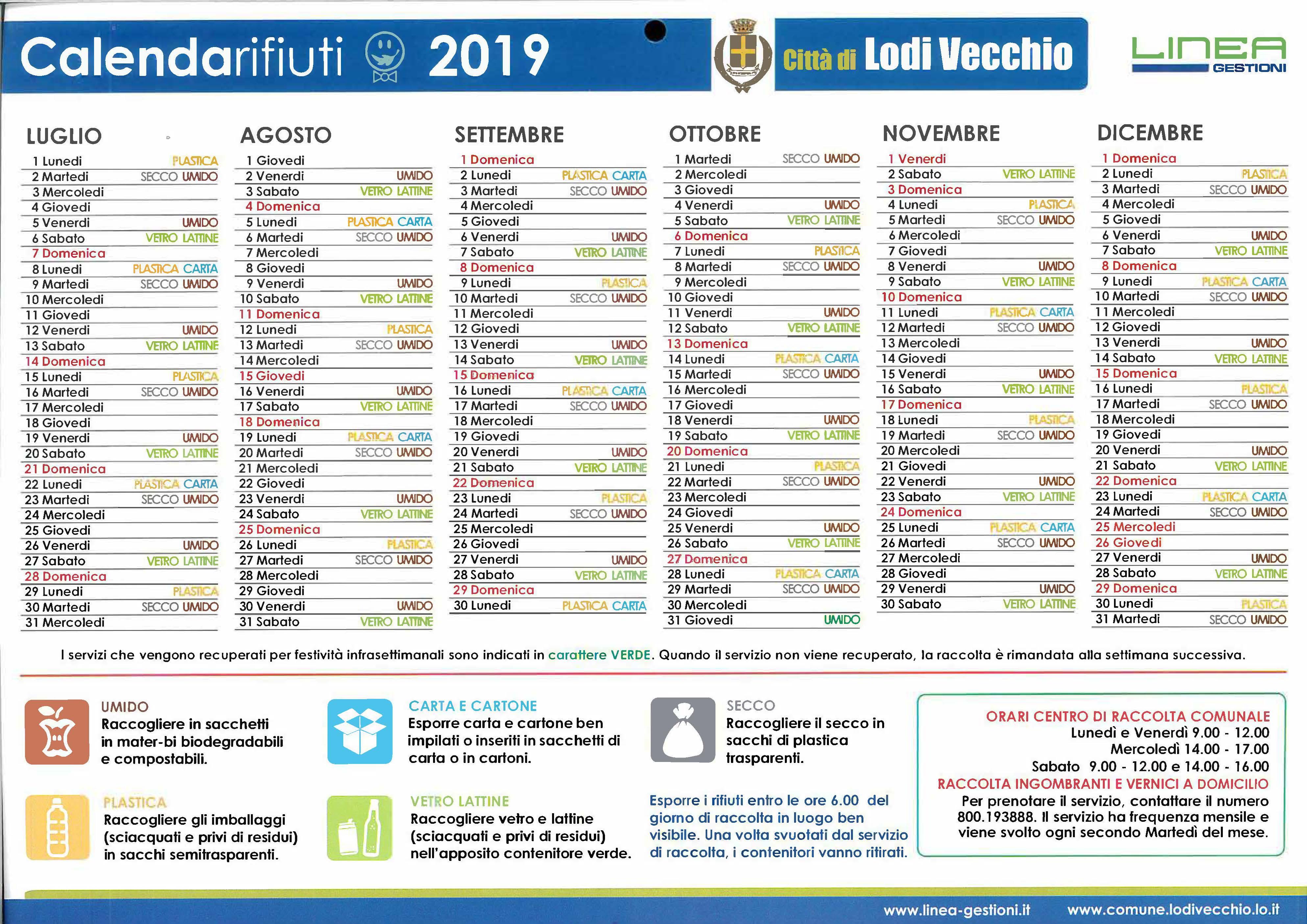 Calendario rifiuti 2019